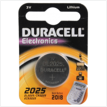 "Батарейка ""CR2025"" Duracell (DL2025) 3.0V, 1шт, 160мАч"