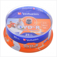 Диск DVD-R Verbatim 4.7Gb 16х 25шт Cake Box Photo Printable (43538)