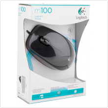 Мышь проводная Logitech (M100) 800 dpi, USB, dark grey (910-001604)
