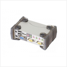 Переключатель Aten (CS1732B) 2-port USB / PS/2 KVMP Switch (клавиатура USB или PS/2+мышь USB или PS/2 +VGA15pin+Audio+Mic) (+2 кабеля)
