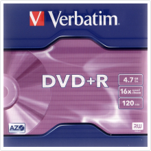 Диск DVD+R Verbatim 4.7Gb 16x 10шт Jewel Case Printable (43508)
